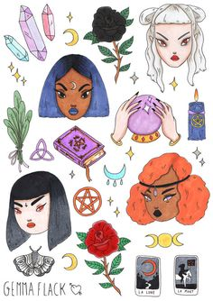 a sticker sheet for all the witchy babes, featuring pentacles, crystals, candles, a sprig of sage and some witchy cuties.  15 large stickers and 12