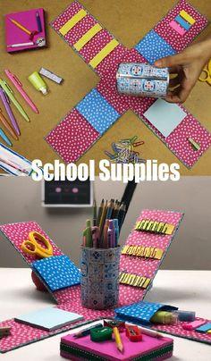 organizador buba diy - Pesquisa Google School Kit, Notebook Covers, School Supplies, Diy For Kids, Classroom, Organization, Make It Yourself, Simple, Pencil Organizer