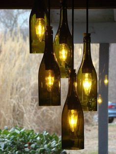 Wine bottle chandelier –creative upcycling ideas for lighting fixtures
