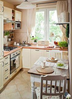16 tricks of small kitchen design - Decor Around The World Small Kitchen Tables, Small Space Kitchen, Kitchen Room Design, Kitchen Interior, Kitchen Decor, Cottage Kitchens, Home Kitchens, Cocina Shabby Chic, Kitchen Trends
