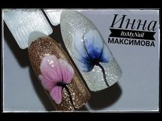 Нежные ЦВЕТЫ на БЛЕСТЯЩЕЙ подложкеЦветы на ногтяхДизайн ногтей гель лаком - YouTube