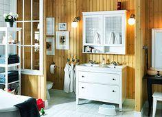 Dresser repurposed as a double sink bathroom vanity