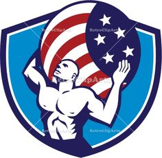 Atlas Carrying Globe USA Flag Crest Retro Vector Stock Illustration Illustration of Atlas looking up carrying on his back globe world earth draped with usa american stars and stripes flag viewed from front set inside crest shield on isolated background done in retro style. #illustration  #AtlasCarryingGlobe