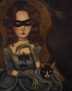 Her Peacock Feathers, 2005 by Kelly Louise Judd. Crazy Cat Lady, Crazy Cats, Victorian Literature, Kansas City Art Institute, Time Painting, Renaissance Art, Cat Art, Contemporary Artists, Art Forms