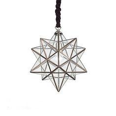 precioso  diseño de lámpara con forma de estrella en metal y cristal, el efecto del cubre cables en terciopelo tiene le da un toque de elegancia y originalidad