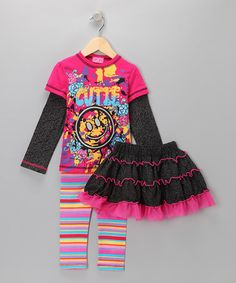 Take a look at this Hot Pink Smiley Set - Infant & Toddler by GiGi on #zulily today!