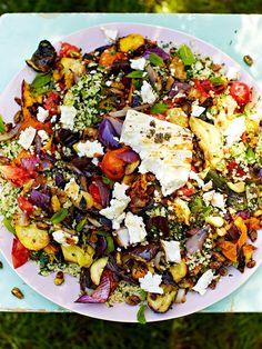 Griddled vegetables with feta   Jamie magazine recipes Veggie Recipes, Salad Recipes, Vegetarian Recipes, Cooking Recipes, Healthy Recipes, Veggie Bbq, Grilling Recipes, Meze Recipes, Chicken Recipes