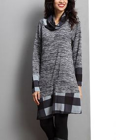 Another great find on #zulily! Charcoal Melange Cowl Neck Contrast Tunic #zulilyfinds