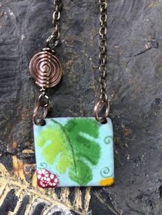 Enamel Necklace/Enamel Jewelry/Pendant/Charms/Nature