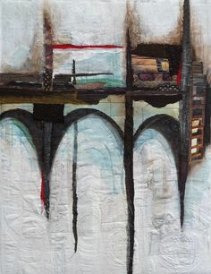 Connections: Bridge 5 by Willy Schut - textile, machine embroidery, paper and paint