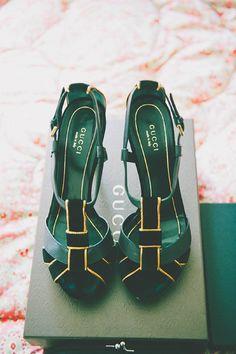 Gucci green velvet heels.