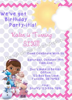Custom Printable Doc McStuffins Invitation by PartyPopPapers, $10.00