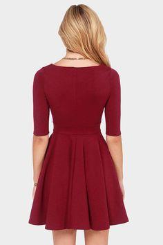 Black Swan Olivia Wine Red Skater Dress at LuLus.com!