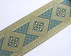Very Wide, Jacquard Trim. Metallic Gold & Turquoise picclick.com