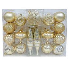 40ct Fashion Gold Shatterproof Christmas Ornament Set - Wondershop™ : Target