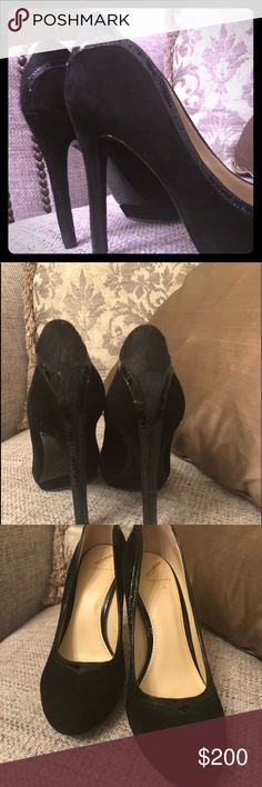 Brian Atwood Black Suede Size 8 Size 8 Brian Atwood pumps are ready for a night out on the town with these sexy stiletto pumps.  Slight wear on the soles. Leather upper. Brian Atwood Shoes Heels