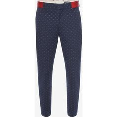 Alexander McQueen Flag Cotton Jacquard Trousers (800 CAD) ❤ liked on Polyvore featuring men's fashion, men's clothing, men's pants, men's casual pants, navy, mens elastic waistband pants, old navy mens pants, mens zipper pants, mens navy blue dress pants and mens zip off pants