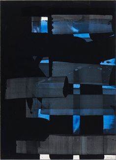 Soulages - gouache on paper 1973 Contemporary Abstract Art, Modern Art, Spirited Art, Minimalist Art, Minimalist Painting, Blue Abstract, Action Painting, Oeuvre D'art, Abstract Expressionism