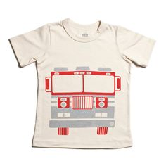 Short-Sleeve Graphic Tee - Fire Truck Natural
