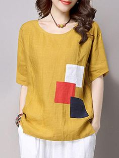 Specifications Product Name: Round Neck Color Block Patch Short Sleeve T-Shirt Weight: Sleeve: Short Sleeve Material: Cotton/linen Pattern Type: Color Cheap Blouses, Shirt Blouses, Blouses For Women, Blouse Styles, Blouse Designs, Half Sleeve Shirts, Linen Blouse, Sewing Clothes, Pulls
