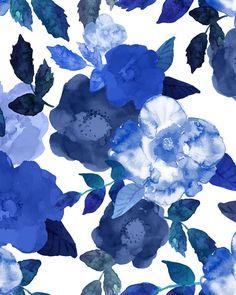 Blue Rose Watercolor Wallpaper