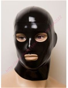 2015 new Fashion Black late Uniform hood Fetish rubber costumes mask with open eyes and mouth plus size Hot sale