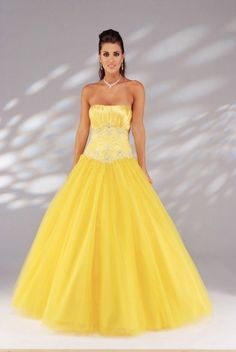 Puffy Yellow Ball Gown Long/Floor-length Tulle Prom Dress PD1D79