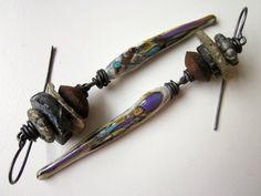 A Careful Disorderliness - primitive assemblage long purple cream lampwork glass, stacked gray Roman glass, wood, pyrite, & copper earrings by LoveRoot