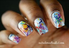 colorful splatter fall nails