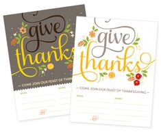 Free Thanksgiving printable invites and tags | How About Orange