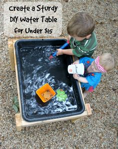 Diy water table- make a covered one for a sand table? Sand And Water, Water Play, Outdoor Play Spaces, Outdoor Fun, Outdoor Games, Infant Activities, Water Activities, Water Activity Table, Family Activities
