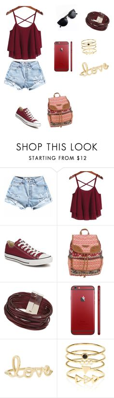"""Untitled #4"" by viktorija-atanasovska ❤ liked on Polyvore featuring Converse, UNIONBAY, Topshop, Sydney Evan, Accessorize, women's clothing, women's fashion, women, female and woman"