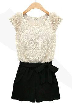 So Cute! White Lace and Black Color Block Drawstring Waist Short Lace Jumpsuit #White_Lace #ColorBlock #Jumpsuit #Summer #Fashion