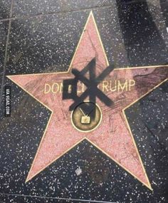 Someone spraypainted a mute symbol on Donald Trumps Hollywood star...