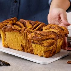 The whole family will enjoy this delicious homemade pumpkin bread recipe. This fall dessert is topped with sugary cinnamon glaze and is perfect for breakfast, brunch, or dessert. #pumpkinbread #falldessert #homemadebreadrecipe #cannedpumpkin #bhg Bread Recipes, Baking Recipes, Pumpkin Bread, Pumpkin Spice, Pull Apart Bread, Artisan Bread, Fall Desserts, Pumpkin Recipes, Yummy Food