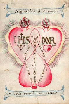 Union in love with the Sacred HeartsA hand-painted French devotional image from the 18th century of the Sacred Hearts of Jesus and Mary entwined with a third heart symbolising believers.