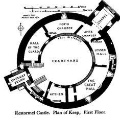 Medieval Castle Floor Plans | Floorplan for the Keep and first floor of Restormel Castle.