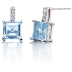 Belk  Co. Blue 14K White Gold Aquamarine And Diamond Earrings (43.600 RUB) ❤ liked on Polyvore featuring jewelry, earrings, blue, white gold earrings, diamond accent earrings, diamond earrings, 14k white gold earrings and white gold diamond jewelry