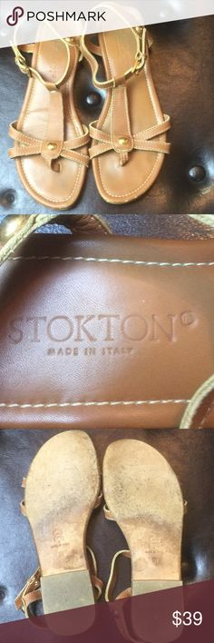 Stockton Sandals Used size 37 leather upper and sole Sandals. Made in Italy. Make me an offer Stokton Shoes
