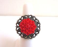 Red Flower Ring Vintage Inspired Antique by Elegencebyela
