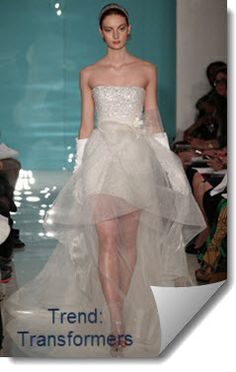 #2013 #Wedding #Gown #Trends ... Transformers (ie removable trains, skirts, or capes to transform the dress for the reception).
