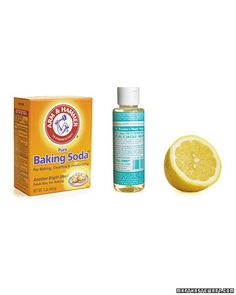 Natural All-Purpose Scrub  Pour 1/2 cup baking soda into a bowl. Add just enough liquid soap to make a creamy paste. Spread mixture on the flat side of 1/2 of a lemon and scrub. The lemon acts as a sponge and leaves a natural citrus scent. Use a damp rag or sponge to wipe away any residue. You'll find the paste will stay moist for a few hours