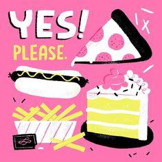 Pizza, hot-dog, fries, & cake ~ YES! Please.