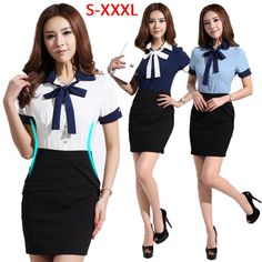 Find More   Information about 2014 Summer Work Wear women Slim OL Formal Shirt Work Wear Skirt Dress Office Ladies/Female Business Suits for Women Uniform Set,High Quality  ,China   Suppliers, Cheap   from Minabell Fashion Store on Aliexpress.com