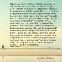 Lessons Learned in Life | I want someone real.