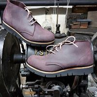 Chukka style cut from Berry oiled commander suede, fitted with flexible 'gloxi' Vibram rubber sole. Vintage Boots, Vintage Leather, Cycling Shoes, Timberland Boots, Leather Boots, Berry, Products, Fashion, Moda