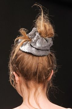 Glastonbury Festival Fashion Inspiration. hippie, bohemian, boho, Ashish Beauty S/S '13, sequin, sparkle, metallic, silver, scrunchie, hair, bun