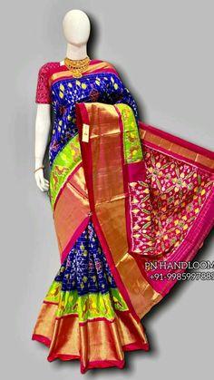 Ikkat Pattu Sarees, Handloom Saree, Bollywood Saree, Pink Saree, Half Saree, Saree Blouse Designs, Saree Wedding, Indian Wear, Ikat