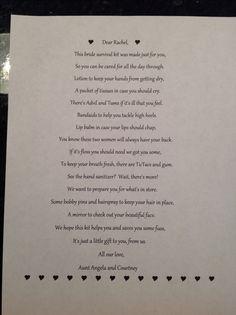 Bridal Emergency Kit List Poem-Super Cute! | Bridesmaid Gifts ...