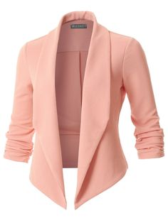 This textured ruched sleeve blazer is an essential to any outfit. A softly draped open-front silhouette softens the look while the asymmetrical hem adds a modern touch to this blazer. Perfect for any occasion. Blazer Outfits, Blazer Fashion, Fashion Outfits, Blazer Dress, Dress Outfits, Cheap Fashion, Womens Fashion, Dresses, Blazers For Women
